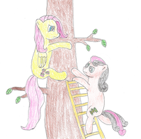 Fluttershy Stuck in a Tree by Naytree