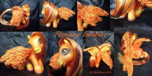 My little Pony Custom Flaming Inferno US$55 by BerryMouse