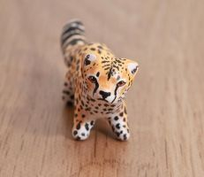 Cheetah polymer clay figurine by lifedancecreations