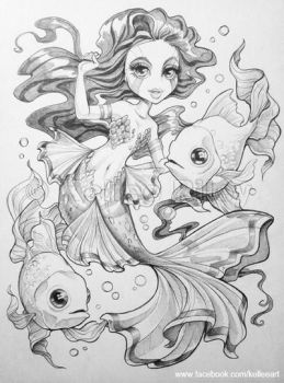 Goldfish Mermaid by KelleeArt