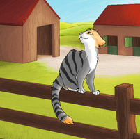 A bunch of houses and a cat on a fence by SpitfiresOnIce