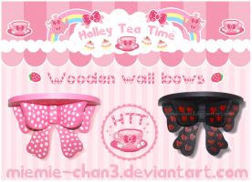 Cute kawaii  Wooden wall bows by miemie-chan3