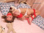 Chantelle frogtied in bed 01 by Stervus