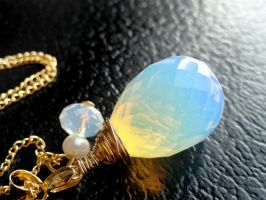 Blue Opal Briolette Crystal Necklace by crystaland