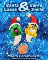 Santa LAAAA and Santa SMILE charms by pongojam