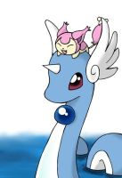 Skitty and Dragonair by nya-nannu