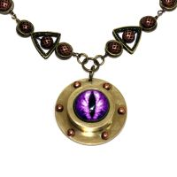 Steampunk NECKLACE - Purple Dragon eye by CatherinetteRings