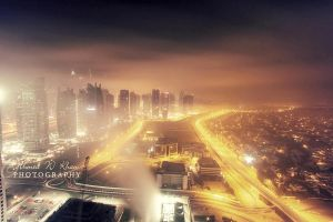 foggy night in dubai by ahmedwkhan