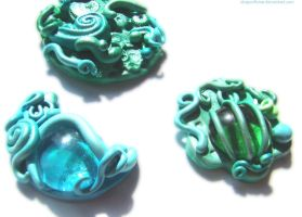 mint mermaid brooches by dragonflyme