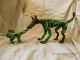 Pipecleaner Vinedog With Pup by psycholiger13