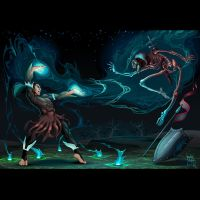 Fighting scene between magician and skeleton by neptune82