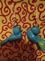 polymer clay peacock earrings by Carly134