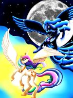 Celestia vs Nightmare moon by MalaMi95
