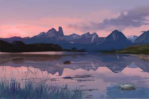 Digital landscape painting by BlackDelphin