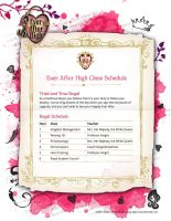 Ever After High Schedule: Royal by misfitkittyrawr