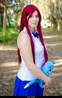 Erza Uniform with Happy by Sage-Snoof