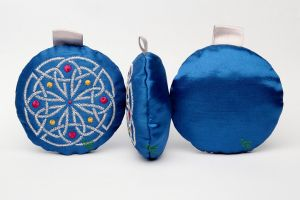 Silver on Blue Celtic Embroidery Tree Ornament by FancyTogs