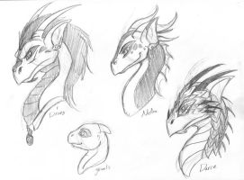 Draco and kids dragon designs - heads by Wazaga