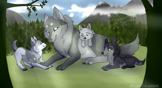Alexis with pups by Juli-Leysson