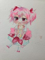 Madoka Magica Chibi Water color by Lemonsquasch