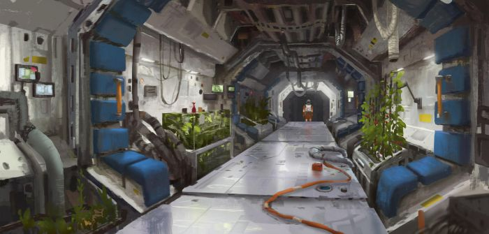 Mars station corridor 01 by Kurobot