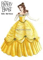 Belle's Ball Gown Costume Rendering by Caliypsoe