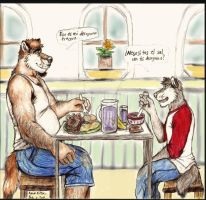 Breakfast with Bob and Tank by osoa-akiondtuade