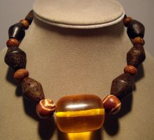amber resin and wood choker by merpagigglesnort