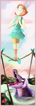 Haunted Universe Stretching Portraits: Tightrope by Flutter-Butter