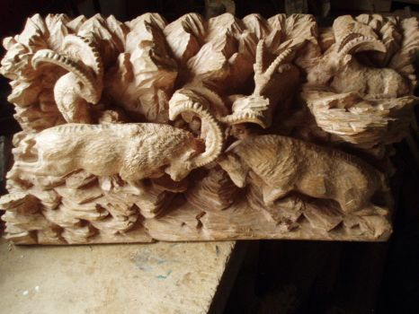 Alpine ibex in progress 15 topview by woodcarve