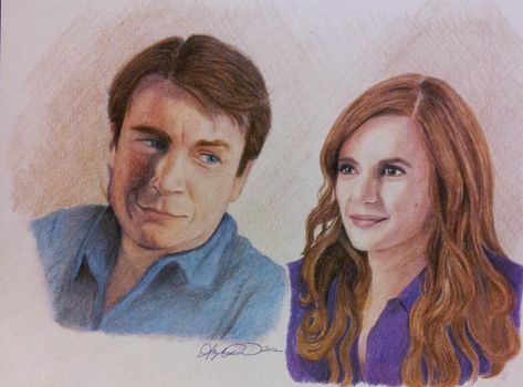 Castle and Beckett, Nathan Fillion and Stana Katic by InspiredByYouArt