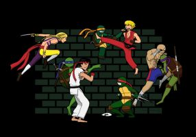 TMNT vs Street Fighter by somezombie1