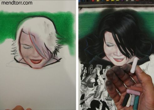 process of pastel painting 'Fatuous Fatale' by Mendtorr