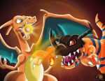 Charizard Vs Greymon by boy-wolf