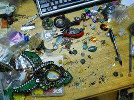 Creating (making a mess) :D Ani Jewelry Designs by AniDandelion