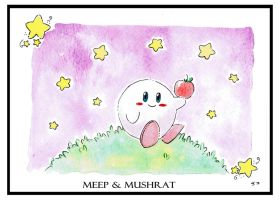 Kirby's Apple Watercolor Print by Meep-and-Mushrat