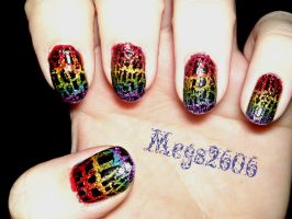 Polish Revisited: Black Crackle Over Rainbows Left by megs2606