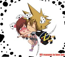 Sora and Kairi- Dalmatian Kiss by Beastwithaddittude