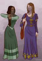 Nynaeve and Elayne in their Taraboner Outfits by karaburrito