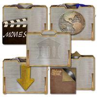 Steampunk Victorian Metal Folders Icons by pendragon1966