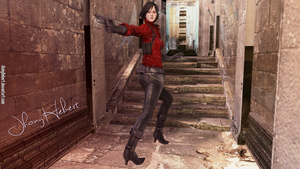 Ada Wong running down the hall by JhonyHebert