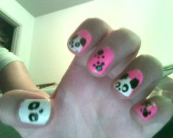 Panda Nail Art by geeky-penguin