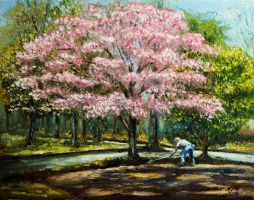 Tilling Under a Dogwood by Kevinrichardfineart