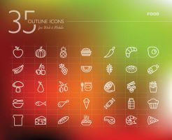 Food Outline Icons Set by dryopus