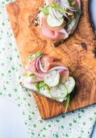 Open sandwiches with ham, cucumber and arugula by BeKaphoto