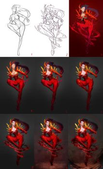 WIP process for Saya- Blood Current by Sinto-risky