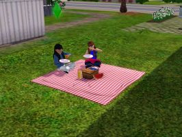 Sims 3 - Denise and I eat and chat at the picnic by Magic-Kristina-KW