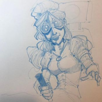 Steampunk goggle girl sketch 6 by Pencilbags
