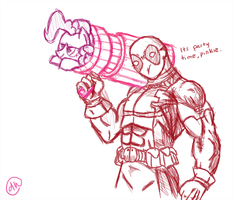 Deadpool tries out the party... rocket launcher? by daniellehaight