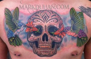 SUGAR SKULL AND HUMMINGBIRDS by amduhan